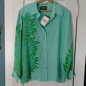 🆕  Bob Mackie Wearable Art palm leaves  blouse 1x